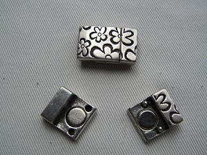 10mm Flat Leather Clasps-Flowers