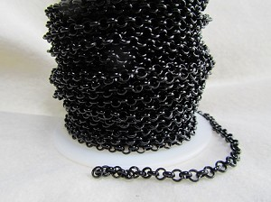 3.8mm Rolo Chain-Nite Shiney Black  ($2.50 Per Foot)