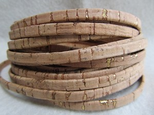 5mm Flat Leather-Cork-Gold ($.25 per inch)
