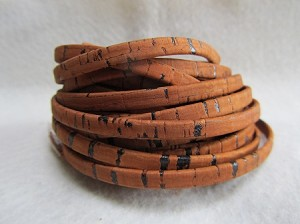 5mm Flat Leather-Cork-Saddle Brown ($.25 per inch)
