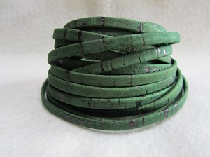 5mm Flat Leather-Cork-Grass Green ($.25 per inch)
