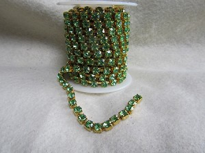 4.4mm Peridot/Gold Cup Chain ($1.00 Per Inch)