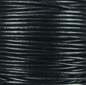 2mm Round Indian Leather-Black ($2,00 per yard)