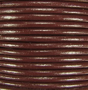 2mm Round Indian Leather-Coffee Brown ($2.00 per yard)