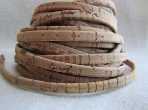 10mm Flat Leather-Cork-Natural ($.50 per inch)