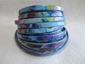 10mm Flat Watercolor-Floral Turquoise ($.50 per inch)