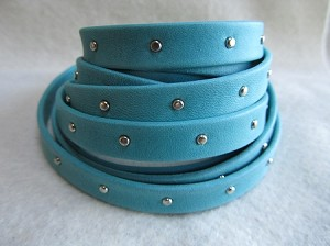 10mm Flat Studded Arizona-Turquoise ($.50 per inch)