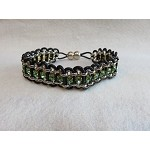 Rolo & Rhinestone Cup Chain with leather (single-peridot)